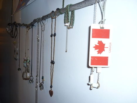 Finders keepers! .  Make a jewelry branch hanger in under 10 minutes by constructing with string and branch. Creation posted by Elizabeth-the-Eclectic. Difficulty: Easy. Cost: No cost.