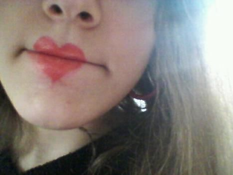 Heart..heart..heart .  Paint a two toned lip in under 10 minutes by applying makeup with lipstick and lip pencil. Creation posted by ~-*animelover~-*. Difficulty: Easy. Cost: No cost.
