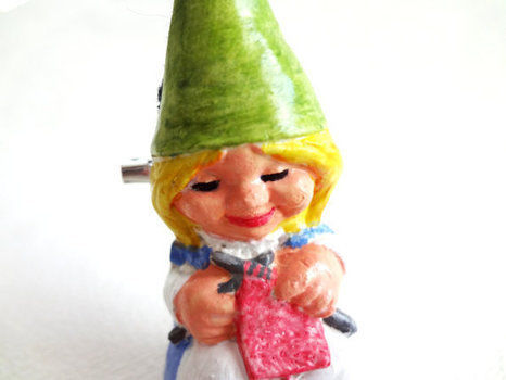 Whimsical lady gnomes .  Mold a clay brooch in under 30 minutes using acrylic paint, hot glue gun, and brooch. Inspired by gnomes. Creation posted by EVEnl. Difficulty: 3/5. Cost: No cost.