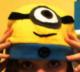 For when you have and uncontrollable urge to balance something cute on your head.. .  Make a character hat in under 60 minutes by sewing with felt, sewing machine, and fleece. Inspired by despicable me. Creation posted by . Difficulty: Simple. Cost: Cheap.