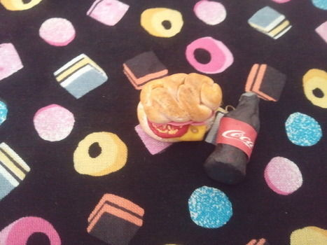 A twist on the usual best and friend necklace with a cheese and ham sub and a coke. .  Sculpt a clay food necklace in under 20 minutes by molding and not sewing with polymer clay. Inspired by vintage & retro, kawaii, and clothes & accessories. Creation posted by Hdoddles . Difficulty: Easy. Cost: Absolutley free.
