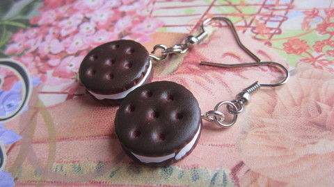 Cute enough to eat! .  Free tutorial with pictures on how to make a pair of clay earring in 4 steps by jewelrymaking and  with charms, pliers, and hands. Inspired by kawaii, food, and cookies. How To posted by Purpled Up. Difficulty: 3/5. Cost: Cheap.