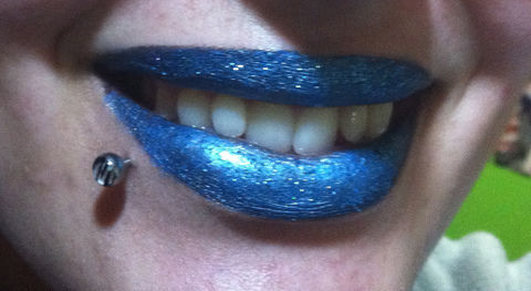 """Looks like her lips in her clip for """"We R who we R"""" - I hope ;) .  Free tutorial with pictures on how to create a lip makeup look in under 15 minutes by creating, applying makeup, and decorating with eyeshadow, glitter, and eyeliner pencil. Inspired by halloween, costumes & cosplay, and monsters. How To posted by Adeedee. Difficulty: Easy. Cost: Absolutley free. Steps: 5"""