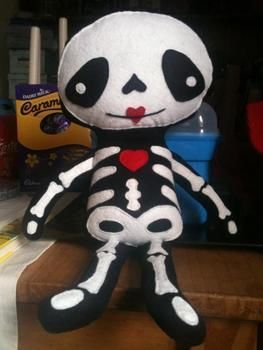 Whosays skeletons arent cuddly  .  Make a food plushie by sewing with felt and fleece. Inspired by domo kun, domo kun, and domo kun. Creation posted by Zombiella x. Difficulty: 3/5. Cost: 3/5.