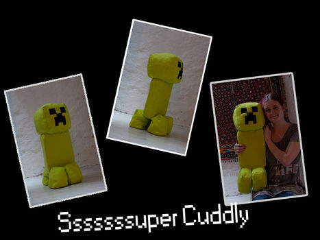 66 cm high creeper plush from the game Minecraft .  Sew a computer game plushie by sewing with fabric, needle & thread, and fleece. Inspired by monsters and minecraft. Creation posted by Bobbalupp. Difficulty: Simple. Cost: 3/5.