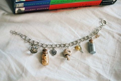 7 little charms from the book .  Make a bracelet in under 60 minutes by beading, jewelrymaking, decoupaging, and resinworking with chain, charms, and glass beads. Inspired by harry potter, costumes & cosplay, and vintage & retro. Creation posted by angela a. Difficulty: 4/5. Cost: 5/5.