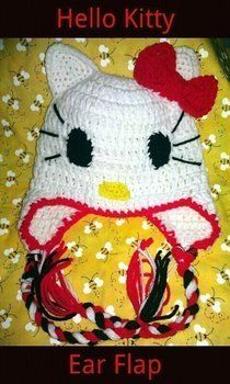 Everyone Loves Hello Kitty .  Make an animal hat by crocheting with yarn, yarn, and yarn. Inspired by hello kitty, cats, and kawaii. Creation posted by BobbieBomber. Difficulty: Easy. Cost: Cheap.