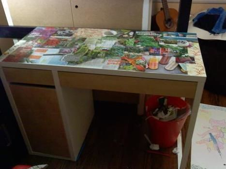 Easy way to personalize your office space.  .  Free tutorial with pictures on how to make a table in under 150 minutes by decorating, resinworking, and decoupaging with decoupage glue, magazine, and paintbrush. How To posted by . Difficulty: Easy. Cost: Absolutley free. Steps: 3