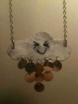 Fun, cheeky cloud that I love! .  Make a pendant necklace in under 60 minutes by jewelrymaking, sewing, and jewelrymaking with felt, chain, and necklace. Inspired by creatures, kawaii, and clothes & accessories. Creation posted by Cazza Bazza. Difficulty: Easy. Cost: Cheap.