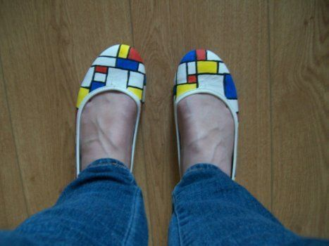 Easy colourful shoes for art lovers .  Paint a pair of patterned shoes by decorating with paint and shoes. Creation posted by Lisa. Difficulty: Easy. Cost: Cheap.