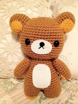 Go crazy for Rilakkuma! .  Make a bear plushie in under 60 minutes by needleworking, sewing, yarncrafting, crocheting, and amigurumi with yarn, polyfill, and safety eyes. Inspired by creatures, kawaii, and bears. Creation posted by Shirls. Difficulty: Easy. Cost: No cost.