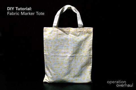 Markers, tote and a little bit of time, that's all you need!  .  Free tutorial with pictures on how to paint a painted tote in under 20 minutes by drawing with fabric marker and tote bag. Inspired by clothes & accessories. How To posted by Operation Overhaul. Difficulty: Easy. Cost: No cost. Steps: 4
