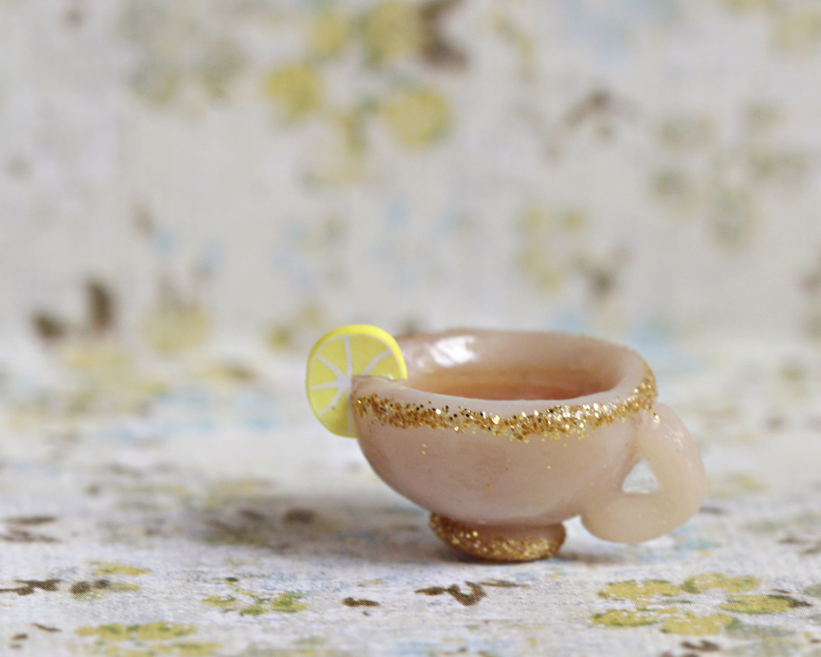 polymer clay ring Tea with cookies Miniature Tea Cup and Cookies ring