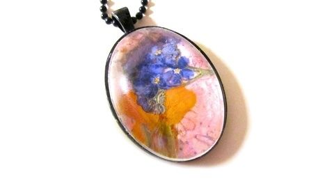 Turn flowers in to pretty pendant necklaces. .  Free tutorial with pictures on how to make a glass pendant in under 30 minutes by gardening, jewelrymaking, and decorating with scissors, paper, and paper. How To posted by Cat Morley. Difficulty: Simple. Cost: Cheap. Steps: 8