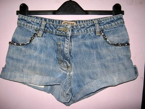Jeans to studded shorts .  Make shorts in under 30 minutes by decorating, embellishing, studding, not sewing, and studding with shorts and spikes. Inspired by clothes & accessories. Creation posted by Kez N. Difficulty: Easy. Cost: No cost.