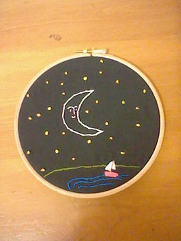 Just a little more embroidery i've done ;) .  Embroider art by embroidering and sewing with embroidery thread. Inspired by kawaii and moon. Creation posted by KnitOneSewTheOther. Difficulty: Easy. Cost: No cost.