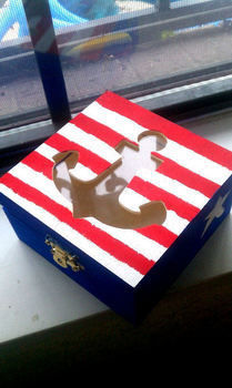 A jewelry box to show your love of anchors! .  Make a wooden box in under 30 minutes by drawing and decorating with box and paintbrush. Inspired by vintage & retro. Creation posted by krissycandisco. Difficulty: Simple. Cost: Cheap.