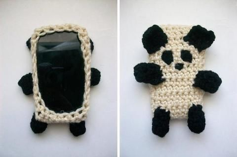Made this for my iPhone, plan to make more soon! .  Stitch a knit or crochet pouch in under 60 minutes by yarncrafting, crocheting, and amigurumi with yarn, crochet hook, and yarn needle. Inspired by kawaii, pandas, and clothes & accessories. Creation posted by MooeyAndFriends. Difficulty: Easy. Cost: No cost.