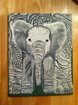 <3 .  Draw & Paint a piece of animal art in under 120 minutes by creating and decorating with paint, paint brush, and canvas. Inspired by elephants. Creation posted by Stephanie. Difficulty: Easy. Cost: Cheap.