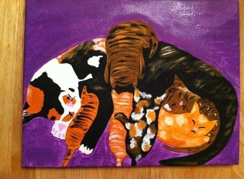 Mama kitty and her kittens :) .  Draw & Paint a piece of animal art in under 120 minutes by creating and decorating with paint, paint brush, and canvas. Inspired by cats. Creation posted by Stephanie. Difficulty: Easy. Cost: Cheap.
