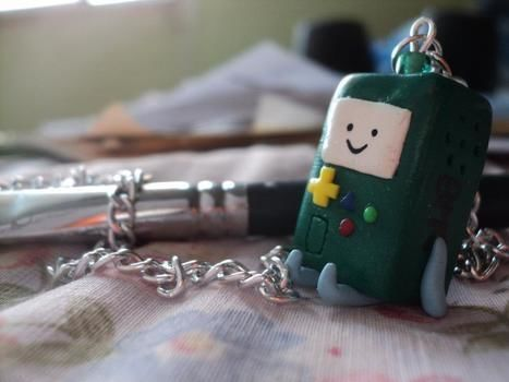 Adventure time Beemo :D Sculpey .  Free tutorial with pictures on how to sculpt a clay character necklace in under 50 minutes using polymer clay. Inspired by costumes & cosplay, monsters, and kawaii. How To posted by Haruka xz. Difficulty: 3/5. Cost: 3/5. Steps: 1