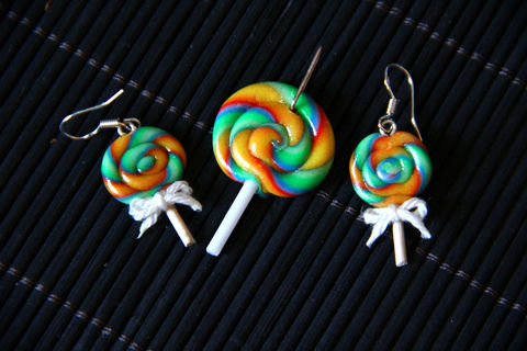 So cute and sweet ;)  .  Make a pair of clay earring in under 90 minutes by jewelrymaking and  with modelling clay and matches. Inspired by kawaii, food, and lollipops. Creation posted by Marakyo. Difficulty: Easy. Cost: Absolutley free.