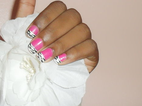 Combined two of my favourite things - pink and zebra print! .  Free tutorial with pictures on how to paint an animal print nail in under 45 minutes by nail painting with nail polish, nail polish, and nail polish. Inspired by zebra print and zebra print. How To posted by Tina1992. Difficulty: Simple. Cost: Cheap. Steps: 10