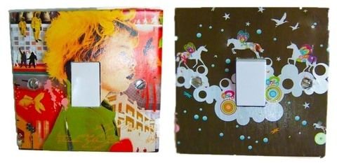 Fun ideas to brighten up your room .  Make a light switch in under 30 minutes by decorating with craft knife, images, and spray adhesive. Creation posted by lexielou. Difficulty: Simple. Cost: Absolutley free.
