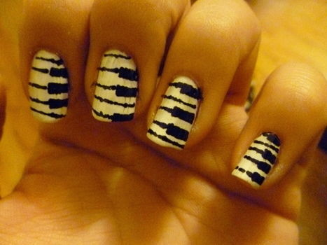 Piano keys nails. .  Paint a themed nail manicure in under 30 minutes by nail painting with nail polish. Inspired by piano. Creation posted by Susie H. Difficulty: Simple. Cost: Cheap.