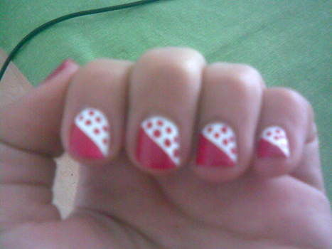 Preppy and lovely nails .  Free tutorial with pictures on how to paint patterned nail art in under 40 minutes by nail painting and nail painting with nail polish, nail polish, and clear nail polish. Inspired by valentine's day, hearts, and polka dot. How To posted by nariel. Difficulty: Easy. Cost: Absolutley free. Steps: 5
