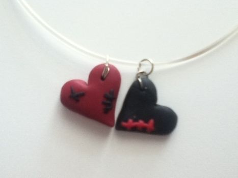 Bored of too romantic hearts.. .  Sculpt a clay shape necklace in under 10 minutes by  with wire and polymer clay. Inspired by valentine's day, zombies, and gothic. Creation posted by Juliet J. Difficulty: Easy. Cost: No cost.