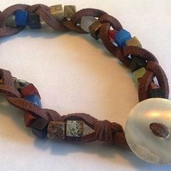 Braided Stone And Suede Bracelet