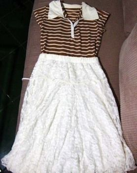 How about a NEW OLD DRESS. A dress from an old shirt and unused skirt =) .  Free tutorial with pictures on how to recycle a skirt into a dress in under 60 minutes by needleworking and sewing with needle, needle and thread, and skirt. Inspired by vintage & retro and clothes & accessories. How To posted by colin16nikki. Difficulty: Easy. Cost: No cost. Steps: 4