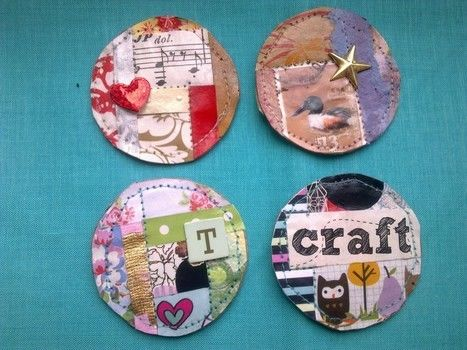 Liven up your fridge! .  Make a paper magnet in under 90 minutes by papercrafting, collage, and sewing with sewing machine, paper, and hot glue gun. Creation posted by Libby W. Difficulty: Easy. Cost: Absolutley free.