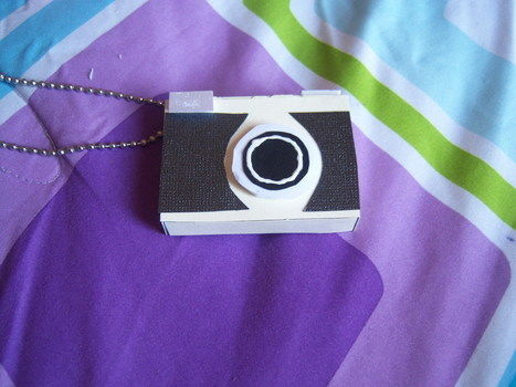 A mini camera on a string.  .  Free tutorial with pictures on how to make a camera pendant in under 60 minutes by photographing, jewelrymaking, and decorating with scissors, paper, and paper. Inspired by vintage & retro, kawaii, and clothes & accessories. How To posted by Ami. Difficulty: Easy. Cost: Cheap. Steps: 9