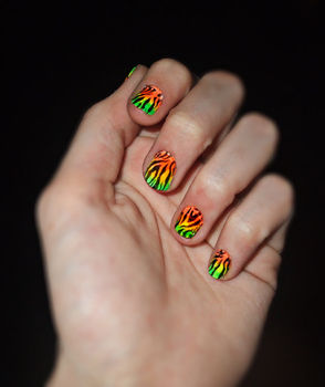 Go neon for spring! trendy tutorial! .  Free tutorial with pictures on how to paint an animal print nail in under 30 minutes by nail painting with nail polish and nail plate. Inspired by rainbow, zebra print, and zebra print. How To posted by Quiet Lion. Difficulty: Easy. Cost: Absolutley free. Steps: 6