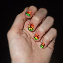 Neon Zebra Nails!