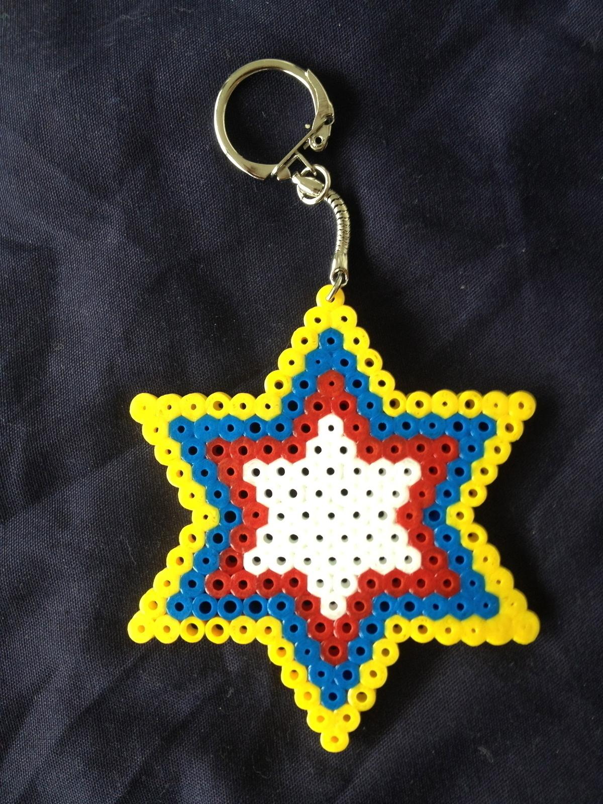 Hama Bead Star Keychains A Pegboard Bead Charm Beadwork