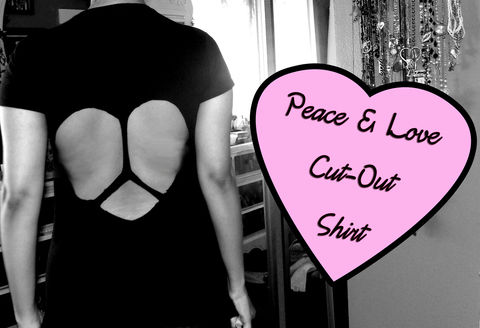 A cool cut out top .  Free tutorial with pictures on how to cut a heart cut-out top in 1 step using shirt. Inspired by clothes & accessories. How To posted by Alternativelychiic. Difficulty: Easy. Cost: Absolutley free.