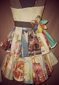 Magazines and old books .  Recycle a paper dress in under 30 minutes by papercrafting with hot glue gun, magazine, and book. Creation posted by Christi W. Difficulty: Simple. Cost: Absolutley free.