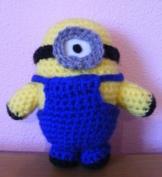 A cuddly crocheted Minion .  Make a food plushie by needleworking, sewing, crocheting, and amigurumi with felt, crochet hook, and wool. Inspired by domo kun, domo kun, and domo kun. Creation posted by Pirate Moose. Difficulty: Simple. Cost: Absolutley free.