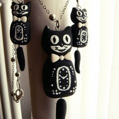Kit Cat Clock Inspired Jewellery Set