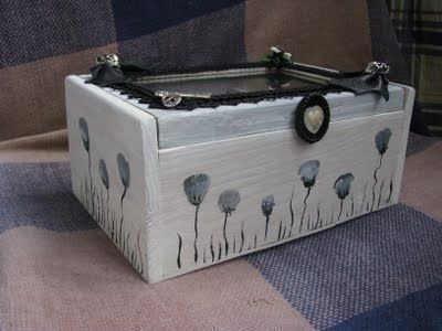 Make a jewelry box from a wooden tea box .  Free tutorial with pictures on how to make a box in under 60 minutes by decorating with acrylic paint, hot glue gun, and lace trim. Inspired by gothic, kawaii, and flowers. How To posted by CountessAudronasha. Difficulty: Simple. Cost: Cheap. Steps: 16