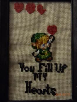 Legend of Zelda, cool, gamer, hearts, link,  .  Cross Stitch art in under 70 minutes by needleworking, cross stitching, and embroidering with cross stitch fabric and cross stitch thread. Inspired by legend of zelda, gothic, and vintage & retro. Creation posted by Dana B. Difficulty: Easy. Cost: Absolutley free.