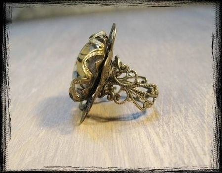 Adjustable ring with antique brass filigree .  Make a metal ring in under 40 minutes by creating, constructing, fusing, and jewelrymaking with patterened paper, filigree, and glass stones. Inspired by vintage & retro, people, and flowers. Creation posted by Anja S. Difficulty: 3/5. Cost: 3/5.