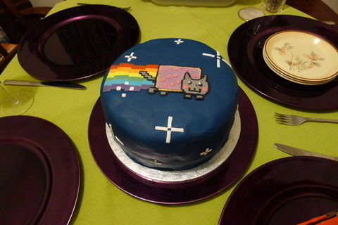 Nyan Cat cake i made for my boyfriends 22nd birthday .  Decorate an animal cake by baking, decorating food, molding, and cake decorating with cake, fondant, and buttercream icing. Inspired by cats, cake, and chocolate. Creation posted by Abigail P. Difficulty: Easy. Cost: Cheap.