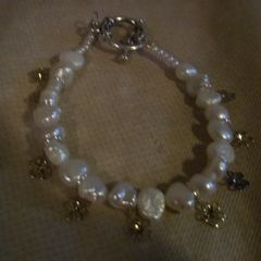 Pearl And Flower Bracelet