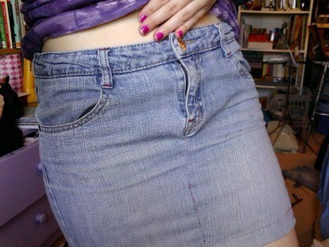 Reinvent a worn pair of jeans into a slim skirt.  .  Free tutorial with pictures on how to recycle a pair of trousers into a skirt in under 90 minutes by sewing with scissors, sewing machine, and pins. Inspired by clothes & accessories. How To posted by mlarmalade. Difficulty: 4/5. Cost: Absolutley free. Steps: 10