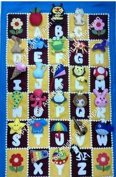 Handmade Alphabet Toys for your kids! It's a lot of fun.. ^^ .  Make a board game piece by drawing, needleworking, sewing, felting, and patchworking with felt, lace, and velcro. Inspired by crafts and toys. Creation posted by Ann N. Difficulty: 5/5. Cost: Cheap.