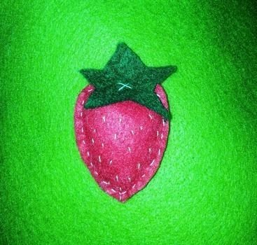 MMM!  .  Make a fabric brooch in under 20 minutes by needleworking, embroidering, sewing, felting, and sewing with felt. Inspired by kawaii, food, and strawberries. Creation posted by Hayley S. Difficulty: Easy. Cost: Absolutley free.